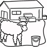 Barn, Picture Of Sheep At The Barn Coloring Page: Picture of Sheep at the Barn Coloring Page
