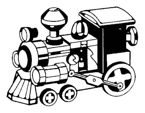 Trains, : Picture of Steam Train Coloring Page