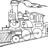 Railroad, Picture Of Steam Train On Railroad Coloring Page: Picture of Steam Train on Railroad Coloring Page