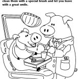 Dental Health, Pig Dentist Checking For Cavaties In Dental Health Coloring Page: Pig Dentist Checking for Cavaties in Dental Health Coloring Page