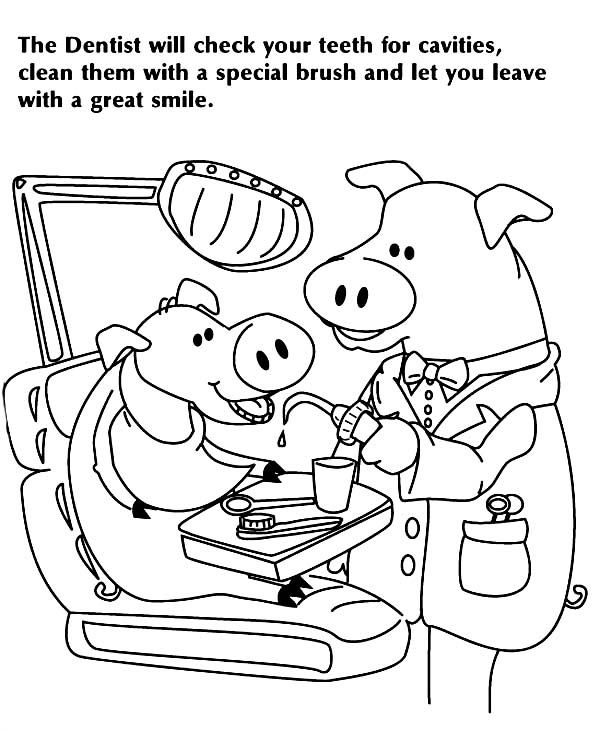 Dental Health, : Pig Dentist Checking for Cavaties in Dental Health Coloring Page