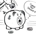 Piggy Bank, Piggy Bank Cursing IPhone 5 Coloring Page: Piggy Bank Cursing iPhone 5 Coloring Page