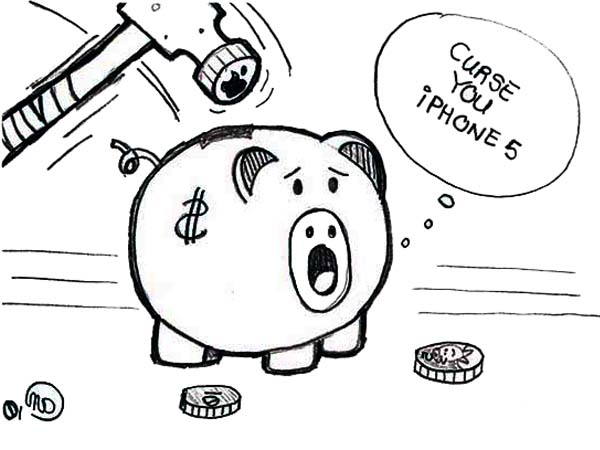 Piggy Bank, : Piggy Bank Cursing iPhone 5 Coloring Page