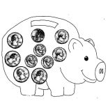 Piggy Bank, Piggy Bank Full Of Coin Coloring Page: Piggy Bank Full of Coin Coloring Page