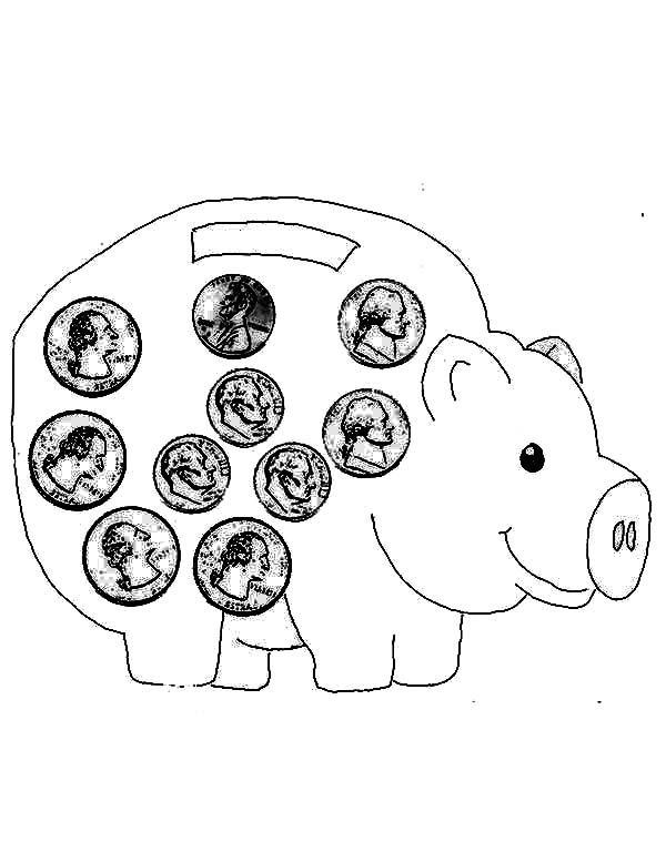 Piggy Bank, : Piggy Bank Full of Coin Coloring Page