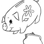 Piggy Bank, Piggy Bank And Purse Coloring Page: Piggy Bank and Purse Coloring Page