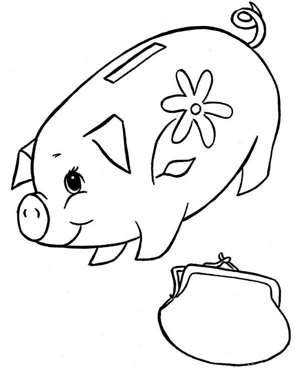 Piggy Bank, : Piggy Bank and Purse Coloring Page