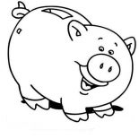 Piggy Bank, Piggy Bank Is Laughing Coloring Page: Piggy Bank is Laughing Coloring Page
