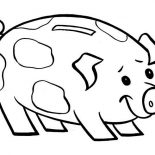 Piggy Bank, Piggy Bank Is Smiling Coloring Page: Piggy Bank is Smiling Coloring Page
