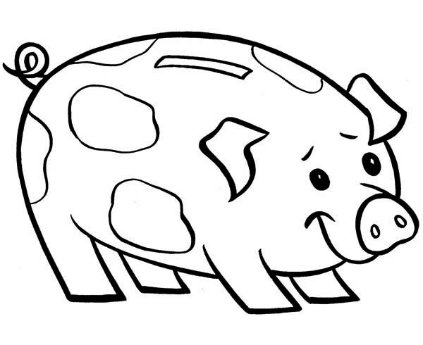 Piggy Bank, : Piggy Bank is Smiling Coloring Page