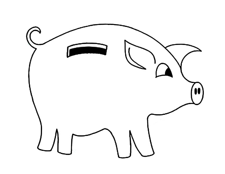 Piggy Bank, : Piggy Bank with Curly Tail Coloring Page