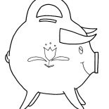 Piggy Bank, Piggy Bank With Sharp Horn Coloring Page: Piggy Bank with Sharp Horn Coloring Page