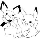 Pichu, Pikachu And Pichu Playing Together Coloring Page: Pikachu and Pichu Playing Together Coloring Page