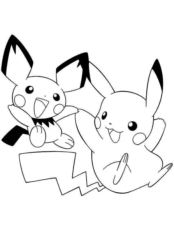 Pichu, : Pikachu and Pichu Playing Together Coloring Page