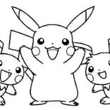 Pichu, Pikachu And Raichu And Pichu Coloring Page: Pikachu and Raichu and Pichu Coloring Page