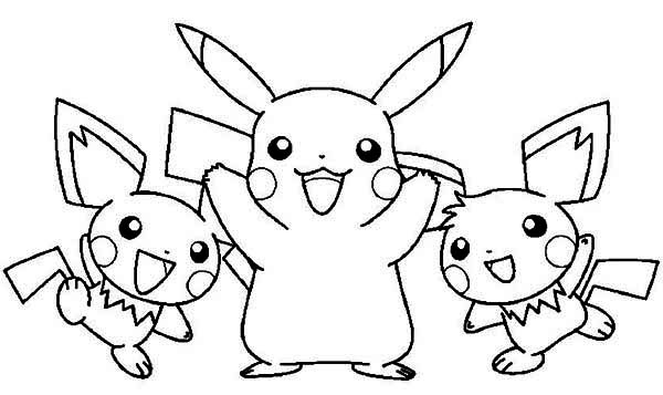 Pikachu and Raichu and Pichu Coloring