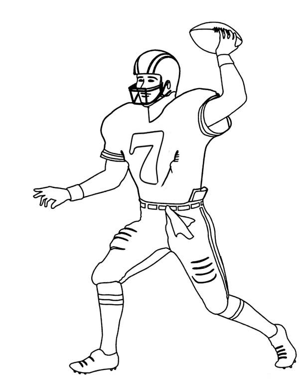 NFL, : Player Number 7 in NFL Coloring Page