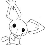 Pichu, Pointed Ear Pichu Is Amazed Coloring Page: Pointed Ear Pichu is Amazed Coloring Page