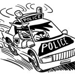 Police Car, Police Car Following Criminals Coloring Page: Police Car Following Criminals Coloring Page