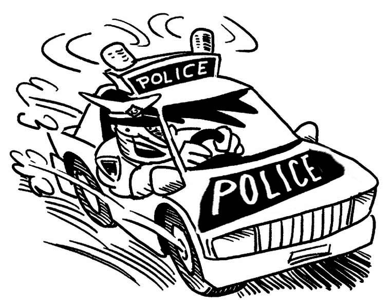 Police Car, : Police Car Following Criminals Coloring Page
