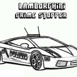 Police Car, Police Car Lamborghini Crime Stopper Coloring Page: Police Car Lamborghini Crime Stopper Coloring Page