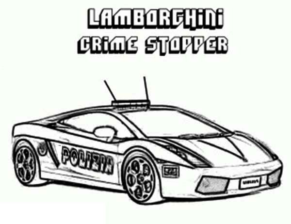 Police Car, : Police Car Lamborghini Crime Stopper Coloring Page
