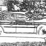 Police Car, Police Car Parking Coloring Page: Police Car Parking Coloring Page