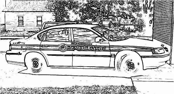 Police Car, : Police Car Parking Coloring Page