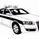Police Car, Police Car Patrol On The Road Coloring Page: Police Car Patrol on the Road Coloring Page