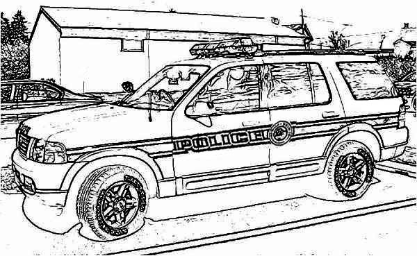 Police Car, : Police Car Raid o Criminal House Coloring Page