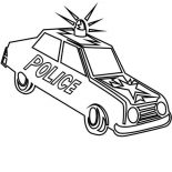 Police Car, Police Car Sirene Screaming In The Street Coloring Page: Police Car Sirene Screaming in the Street Coloring Page