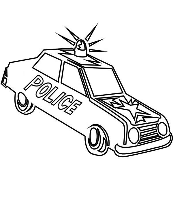 Police Car, : Police Car Sirene Screaming in the Street Coloring Page