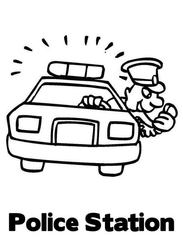 Police Car, : Police Car Station Coloring Page