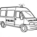 Police Car, Police Car Van Type Coloring Page: Police Car Van Type Coloring Page