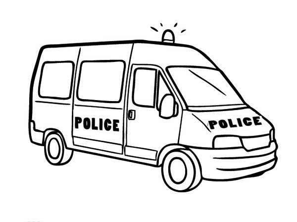 Police Car, : Police Car Van Type Coloring Page