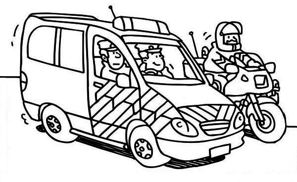 Police Car, : Police Car and Motorcycle Coloring Page