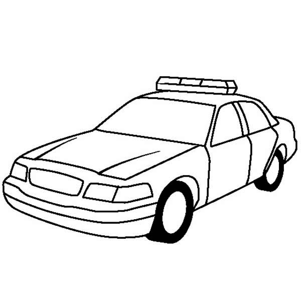 Police Car, : Police Car for Highway Patrol Coloring Page