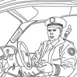 Police Car, Police Man Reporting To Head Quarter In Police Car Coloring Page: Police Man Reporting to Head Quarter in Police Car Coloring Page