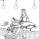 Middle Ages, Princess In Her Chamber In Middle Ages Coloring Page: Princess in her Chamber in Middle Ages Coloring Page