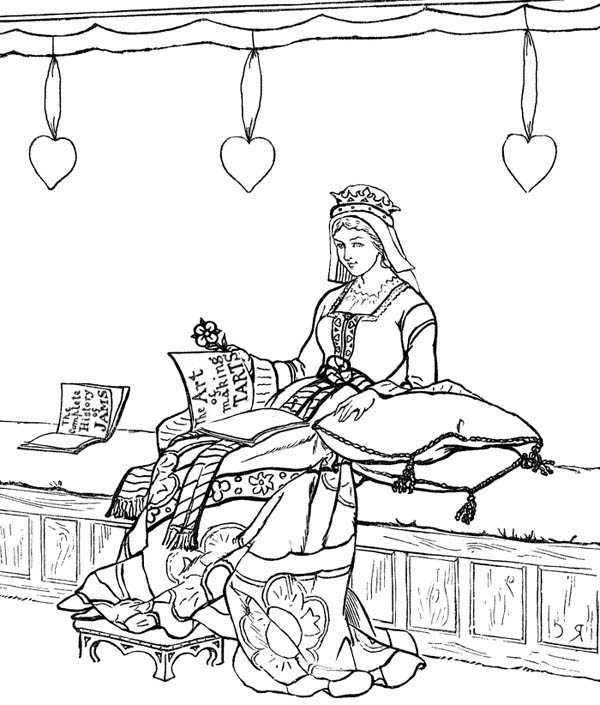Middle Ages, : Princess in her Chamber in Middle Ages Coloring Page