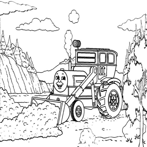 Digger, : Pulling Dirt Away in Digger Coloring Page