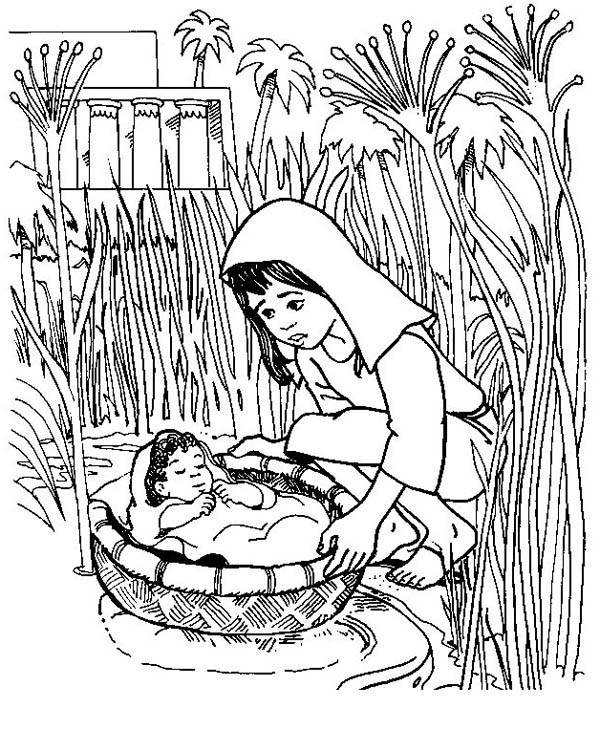 Moses, : Put Baby Moses to Basket to Save Him Coloring Page