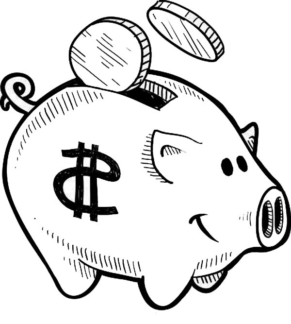 Piggy Bank, : Put Your Coin Piggy Bank Coloring Page