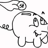 Piggy Bank, Putting Coin In Piggy Bank Coloring Page: Putting Coin in Piggy Bank Coloring Page