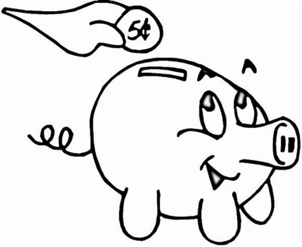 Piggy Bank, : Putting Coin in Piggy Bank Coloring Page