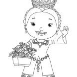 Mike the Knight, Queen Martha And Bouquet Of Flower In Mike The Knight Coloring Page: Queen Martha and Bouquet of Flower in Mike the Knight Coloring Page