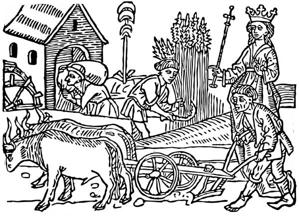 Middle Ages, : Queen and Her People in Middle Ages Coloring Page