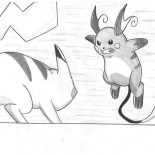 Raichu, Raichu Against Pikachu Coloring Page: Raichu Against Pikachu Coloring Page