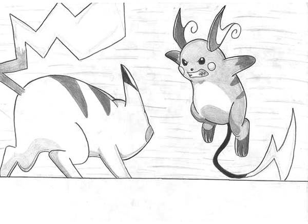 Raichu, : Raichu Against Pikachu Coloring Page