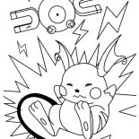 Raichu, Raichu Fall On Magnetic Area Coloring Page: Raichu Fall on Magnetic Area Coloring Page